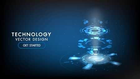 Abstract technology background Hi-tech communication concept, technology, digital business, innovation, science fiction scene vector illustration with copy-space. Ilustração