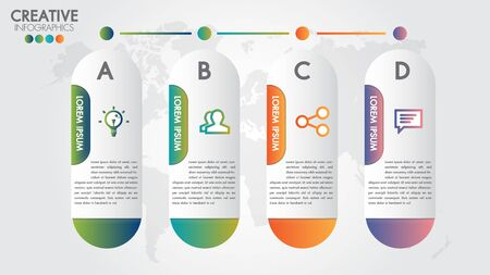 Infographic modern design vector template for business with 4 steps or options illustrate a strategy. Can be used for workflow layout, diagram, annual report, web design, team work.