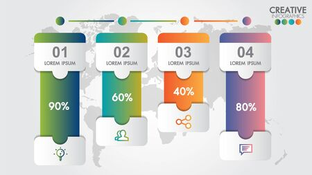 Infographic modern design vector template for business percentage with 4 steps or options illustrate a strategy. Can be used for workflow layout, diagram, annual report, web design, team work.