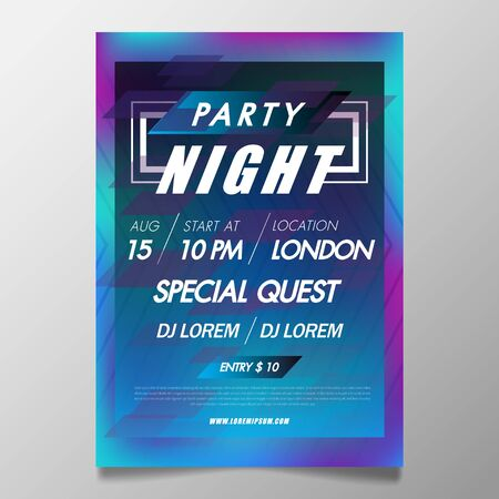 Music festival poster template night club party flyer with background from colorful with abstract gradient line waves.Background in the style of minimalism for DJ Poster, Web Banner, Pop-Up.