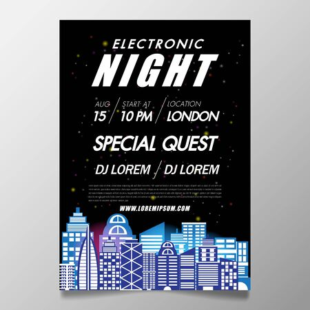 Music festival poster template night club party flyer with black background with building lighting back.Background in the style of minimalism for DJ Poster, Web Banner, Pop-Up.