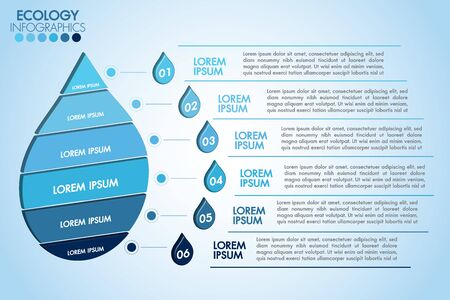 Infographic eco water blue design elements process 6 steps or options parts with water drop. Ecology organic nature vector business template for presentation. Vetores