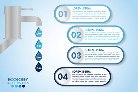 Infographic eco water blue design elements process 4 steps or options parts with water bottle. Ecology organic nature vector business template for presentation.