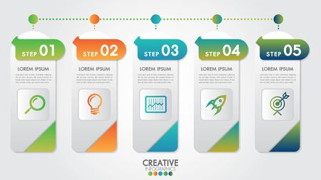 Infographic modern design vector template for business percentage with 5 steps or options illustrate a strategy. Can be used for workflow layout, diagram, annual report, web design, team work. Çizim