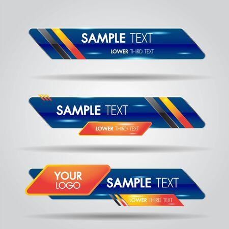 Ensembles de nouvelles de bannières bleues du tiers inférieur. Nom de la barre de diffusion de l'écran de la barre du titre du titre de la vidéo. Collection du tiers inférieur pour le montage vidéo sur fond transparent.