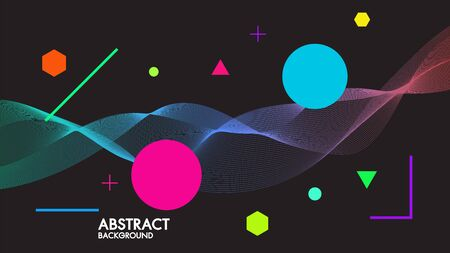 Abstract black background with dynamic linear futuristic waves.For space text colorful vector design illustrator in flat minimalistic concept style. Иллюстрация