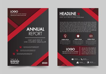 Brochure design flyer template red color geometric shapes design layout, annual report, magazine, poster, corporate report, banner, website.