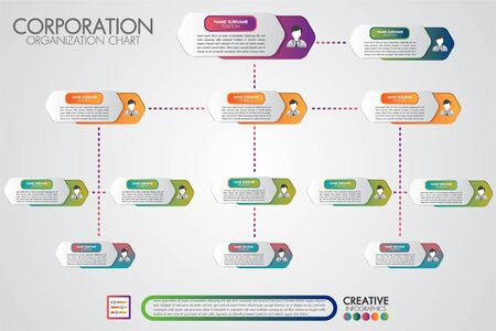 Corporate organisation chart template with business people icons. Vector modern infographics and simple with profile illustration. Corporate hierarchy and human model connection. Vector Illustration