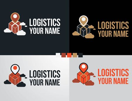 Logo set logistic and delivery icon symbol fast moving box concept on cloud design.Shipping and express service template.