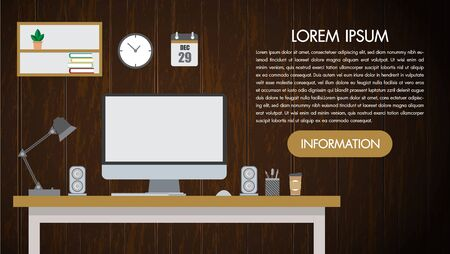 Realistic workplace desktop on wooden background wall. Work desk for office with stationery elements on the table. The web banner. Modern flat design.