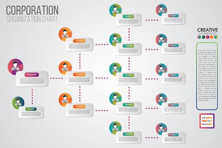 Modèle d'organigramme d'entreprise avec des icônes de gens d'affaires. Infographie vectorielle moderne et simple avec illustration de profil. Hiérarchie d'entreprise et connexion au modèle humain.