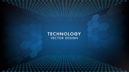 Abstract technology background Hi-tech communication concept, technology, digital business, innovation, science fiction scene vector illustration with copy-space. 向量圖像