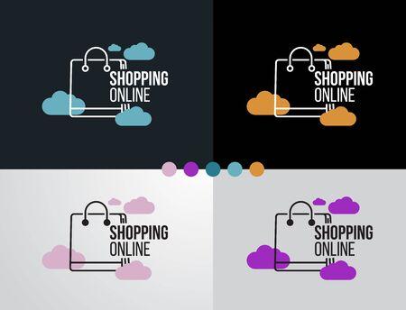 Logo online shopping set design icon for business template.Vector illustrator. Banque d'images - 144133823