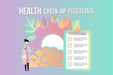 Health check up checklist medical services, annual check up, preventive examination, stethoscope vector icon, flat illustration.Medical background template online clinic concept.
