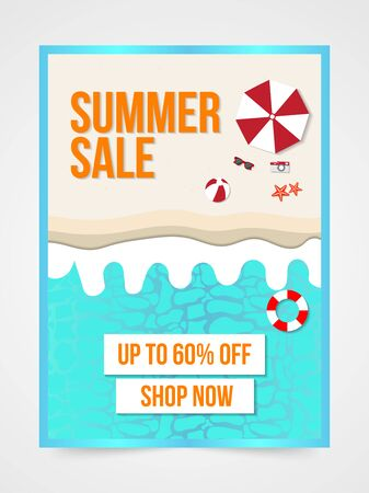 Summer sale banner layout template with discount text amd summer elements.Concept of seasonal vacation in tropical country.Can be used flyer, invitation, poster, web site or greeting card.