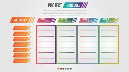 Modèle de conception infographique de calendrier de projet graphique quotidien et hebdomadaire. Aperçu de l'illustration vectorielle de la chronologie de la planification. Vecteurs