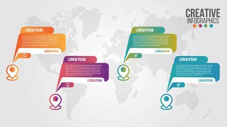 Plantilla de vector de diseño de línea de tiempo moderna de infografía para empresas con 4 pasos u opciones que ilustran una estrategia. Se puede utilizar para diseño de flujo de trabajo, diagrama, informe anual, diseño web, trabajo en equipo.