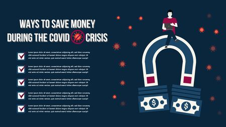 Prevent improve save money during the epidemic COVID-19 virus.Ways to save money during the covid crisis.Save local business people financial covid credit.People problems worried crisis.