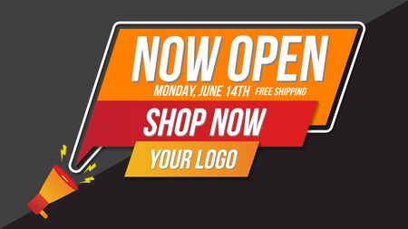 Now open shop or new store red and orange color sign on black background.Template design for opening event.Can be used for poster ,flyer , banner. Ilustração