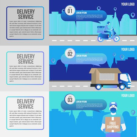 Logistic service concept template 3 options or steps.How Drop shipping Works Step by step.Truck delivery and bike service.Process diagram, workflow layout. Info graph