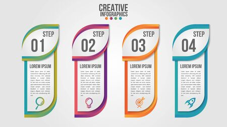 Infographic modern timeline design vector template for business with 4 steps or options illustrate a strategy. Can be used for workflow layout, diagram, annual report, web design, team work. Vettoriali