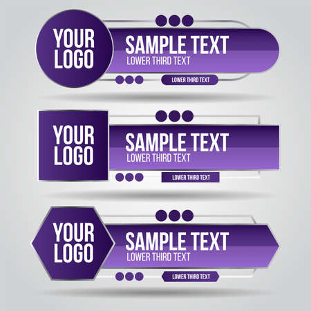 Lower third purple and grey color design tv template modern contemporary. Set of banners bar screen broadcast show bar name. Collection of lower third for video editing on transparent background.