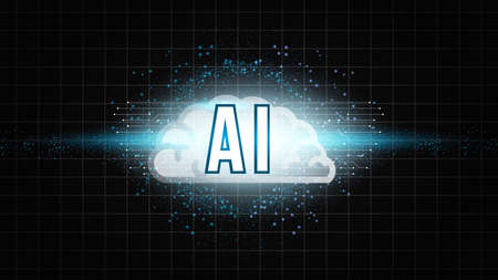 AI Artificial Intelligence technology background concept with brain and building smart city neural network thinks.Abstract futuristic sci-fi concept background.Processing big data, analysis. 矢量图像