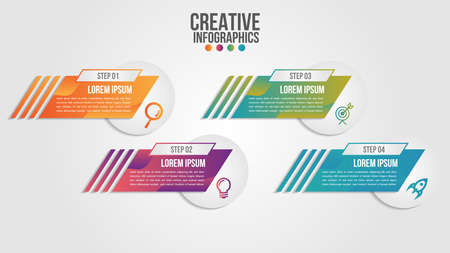Infographic modern timeline design vector template for business with 4 steps or options illustrate a strategy. Can be used for workflow layout, diagram, annual report, web design, team work. Archivio Fotografico - 150621513