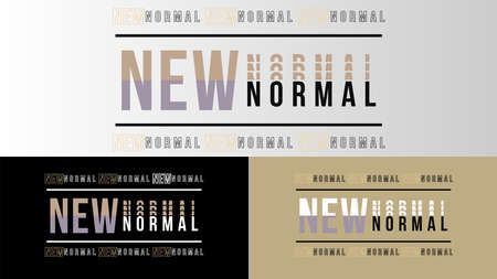 New normal text word design vector after covid 19 pandemic. New healthy lifestyle, wash your hands, wear a mask, physical distancing, work from home.Vector lifestye and social distancing concept. Illustration