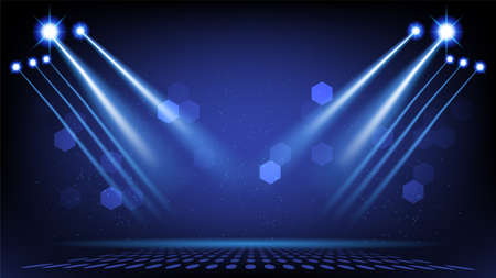 Abstract background stage with scenic lights of round futuristic technology user interface Blue vector lighting empty stage spotlight background.
