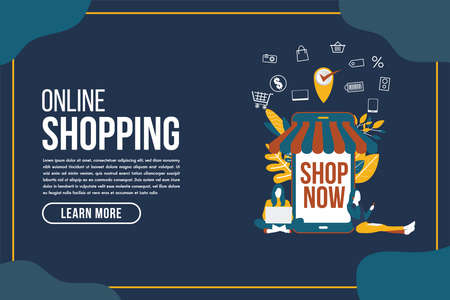 Online delivery shopping flat design with concept robot service. This design can be used for websites, landing pages.Internet shipping web banner with modern city.