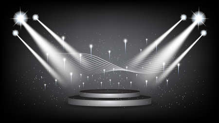Abstract background stage with scenic lights of round futuristic technology user interface Black vector lighting empty stage spotlight background.