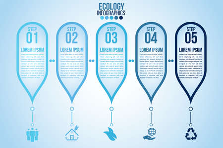Infographic eco water blue design elements process 5 steps or options parts with drop of water. Ecology organic nature vector business template for presentation.Can be used for communication connect. Иллюстрация