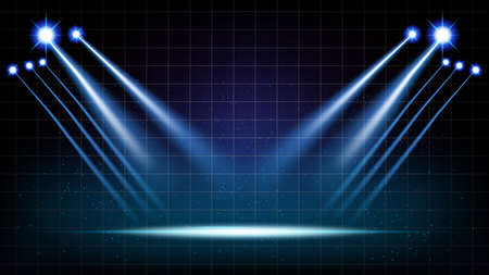 Abstract background stage hall with scenic lights of round futuristic technology user interface Blue vector lighting empty stage spotlight background.