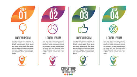 Infographic modern timeline design vector template for business with 4 steps or options illustrate a strategy. Can be used for workflow layout, diagram, annual report, web design, team work. Иллюстрация