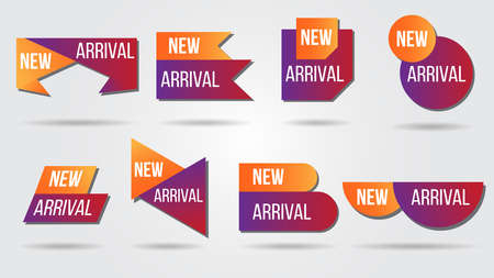 New arrival vector illustration collection labels shop products.Red promotion labels for arrivals shop section.Posters and banners sticker icons templates. Иллюстрация