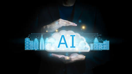 AI (Artificial Intelligence) concept technology background.Brain representing artificial intelligence and businessman.Hand touching digital for provide access to information and data in online.