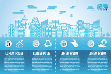 Infographic eco water blue design elements process 4 steps or options parts with smart city. Ecology organic nature vector business template for presentation.