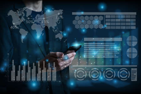 Businessman and technology global social media concept background with businessman using mobile analyzing data and economic with network connection on modern virtual interface.Business strategy.