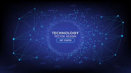 Abstract technology background Hi-tech communication concept, technology, digital business, innovation, science fiction scene vector illustration with copy-space. Иллюстрация