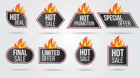 Hot Sale Fire Burn template banner concept design collection set, Big sale special offer.End of season special offer banner shop now.Can be used for poster ,flyer and banner.