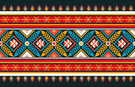 Abstract orange and red geometric native pattern seamless vector.Repeating geometric background.Modern design trendy concept for paper, cover, fabric, interior decor and other users.  イラスト・ベクター素材