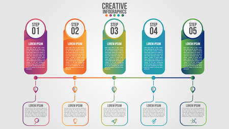 Infographic modern timeline design vector template for business with 5 steps or options illustrate a strategy. Can be used for workflow layout, diagram, annual report, web design, team work. Иллюстрация