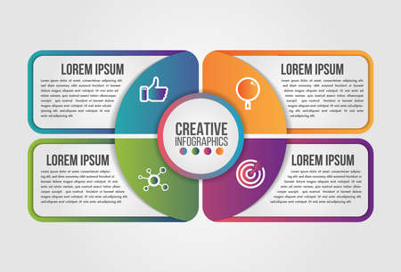Infographic pie circle modern timeline design vector template for business with 4 steps or options illustrate a strategy. Can be used for workflow layout, diagram, annual report, web design. Иллюстрация