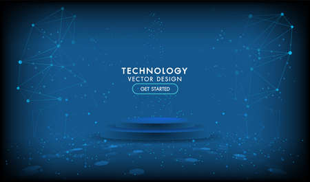 Abstract technology stage product background Hi-tech communication concept, technology, digital business, innovation, science fiction scene vector illustration with copy-space.