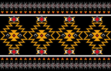 Abstract of orange and red geometric native in pattern seamless