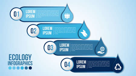 Infographic eco water blue design elements process 4 steps or options parts with drop of water. Ecology organic nature vector business template for presentation. Иллюстрация