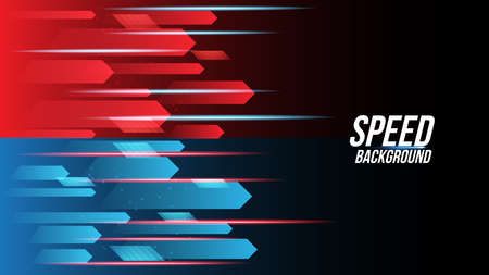 Abstract red and blue background technology high speed racing for sports of long exposure light on black background.Science geometric shape modern elegant design.Vector illustration.