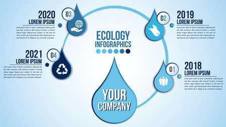 Infographic eco water timeline blue design elements process 4 steps or options parts with drop of water. Ecology organic nature vector business template for presentation. Иллюстрация