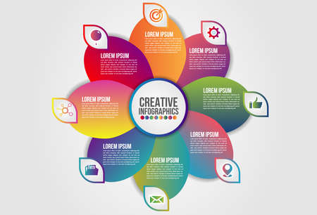 Infographics chart 8 steps options business concept horizontal timeline process template. Vector modern banner used for presentation and workflow layout diagram, web design. world map.